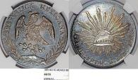 World Coins - Mexico. Republic. AR 8 Reales 1891 Ho-FG. NGC AU55, toned, nice piece