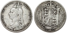 World Coins - Great Britain. Queen Victoria (1837-1901). Silver Jubilee type Shilling 1891. Fine