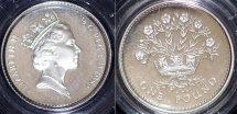 World Coins - Great Britain. Elizabeth II. Silver 1 Pund 1986. PROOF, box.