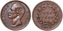 World Coins - Sarawak (North-West Borneo). Charles Rajah (1868-1917) AE Cent 1870. Choice VF