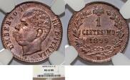 World Coins - Kingdom of Italy. Umberto I (1879-1900). Copper 1 Centesimi 1899R. NGC MS63RB!.