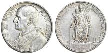 Vatican City. Pope Pius XI (1922-1939). Silver 10 Lire 1935. UNC