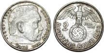 World Coins - Germany. Third Reich. AR 2 Reichsmark 1938 A. Choice XF