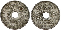 World Coins - French Protectorate. Syria. CU-NI 1 Piastre 1929. Toned XF.