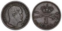 World Coins - Denmark. Frederik VII. CU 1 Rigsbankskilling 1853. Nice XF