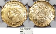 World Coins - German States Hesse-Darmstadt. Ernst Ludwig. Gold 20 Mark 1911-A. NGC MS61