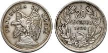 World Coins - Chile. Republic. CuNi 20 Centavos 1924. Good VF