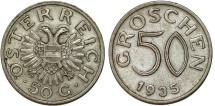 World Coins - Austria. Oestereich Republic. 50 Groschen 1935. XF