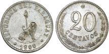 World Coins - Paraguay. Republic. CU-NI 20 Centavos 1900. AU