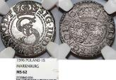 World Coins - Poland. Marienberg. Sigismund III (1587-1632). Silver Solidus 1596. NGC MS62! TOP GRADE!