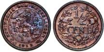 World Coins - Netherlands. Wilhelmina II. Cu 1/2 Cent 1912. UNC