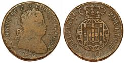 World Coins - Portugal. king João VI (1816-1826) AE 40 Reis 1825 ( Pataco). About VF, toned