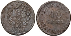 World Coins - Belgium Antwerp under France. Louis XVIII. AE Siege 10 Centimes 1814 R. aVF