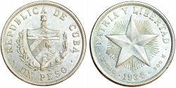 "World Coins - Cuba. Republic. Silver ""STAR"" Peso 1934. XF, details"