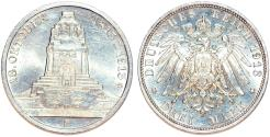 World Coins - Germany. Imperial Period. Saxony. Friedrich August III (1904-1918) Commemorative AR 3 Mark 1913. Cleaned UNC