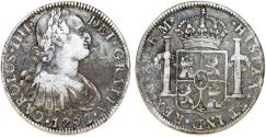 World Coins - Mexico. Charles IV of Spain. AR 8 Reales 1792 Mo-FM. Fine+
