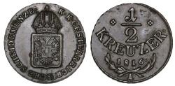 World Coins - Austria. Franz II. CU 1/2 Kreuzer 1816A. Nice Choice XF
