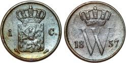 World Coins - Netherlands. William I. CU 1 Centime 1837. VF