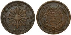 World Coins - Uruguay. Republic. AE 2 Centesimos 1869A. VF+