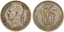 World Coins - Belgian Congo. Albert I. CuNi 1 Franc 1924. VF