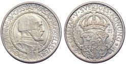 "World Coins - Sweden. Gustav V. AR 2 Kronor 1921 ""Political Liberty"". Choice UNC"