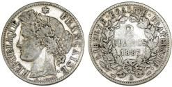 World Coins - France. III Republic (1871-1940). AR 2 Franc 1887A. About VF