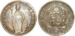 World Coins - PERU. Republic (1821-present). Silver 8 Reales 1837 TM. about XF, cleaned.