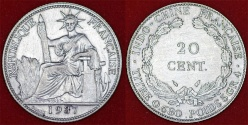 World Coins - French Indo-China. Colony Silver 20 Cents 1937. AU