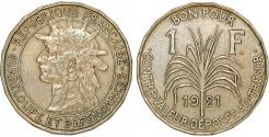 World Coins - Guadeloupe. French Colony Issue. CuNi 1 Franc 1921. Good XF