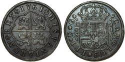 World Coins - SPAIN, Kingdom Issue. Carlos III (1759-1788). AR 4 Reales 1761 JV. VF+, RARE