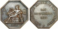"World Coins - France ""Commissaires Experts du Gouvernement"". Octagonal Silver Jeton 1831. XF+"