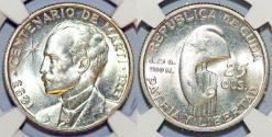 World Coins - Cuba. Republic. Silver 25 Centavos 1953. Centennial of José Marti. NGC MS64