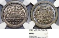 World Coins - Netherlands. Queen Wilhelmina. CuNi 5 Cents 1907. NGC MS64