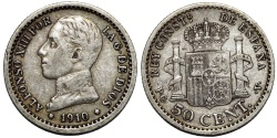 World Coins - Spain. Alfonso XIII (1886-1931). AR 50 Centavos 1910. Choice VF