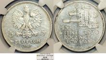 World Coins - Poland. II Republic (1918-1939). Commemorative Silver 5 Zloty 1930. NGC AU58