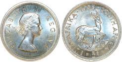 World Coins - South Africa as British Colony. Elizabeth II. AR 5 Shillings 1958. Nice Proof-Like Strike