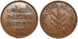 World Coins - Palestine. British Administration. AE 2 Mils 1941. Choice XF