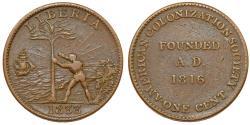 World Coins - Liberia. Republic. SCARCE CU 1 Cent 1833. American Colonization Society. Choice XF