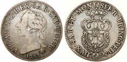 World Coins - Italian States. Sardinia. Vittorio Amedeo III, 1773-1796. Silver Mezzo Scudo Sardo 1773. VF, RARE TYPE!