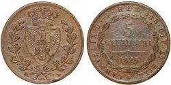 World Coins - Italy. Sardinia. Carlo Felice (1821-1831). AE 5 Centisimi 1826 L. VF