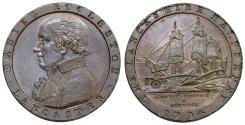World Coins - Great Britain. Lancaster. Daniel Eccleston. Copper Halfpenny 1794. Choice AU