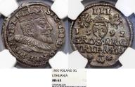 World Coins - Lithuania. G-Duke Sigismund III (1587-1632). Silver 3 Gross 1592. NGC MS63!