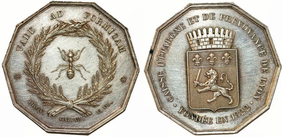 """World Coins - France. Lyon. """"SAVINGS BANKS / CAISSES D'ÉPARGNE"""". Silver Jeton 1822. AU"""