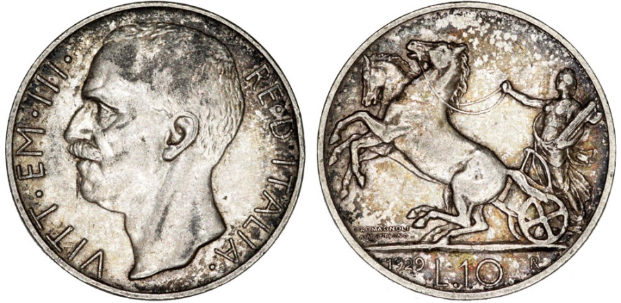 World Coins - Kingdom of Italy. Silver 10 Lire 1929 R. XF, toned, better date
