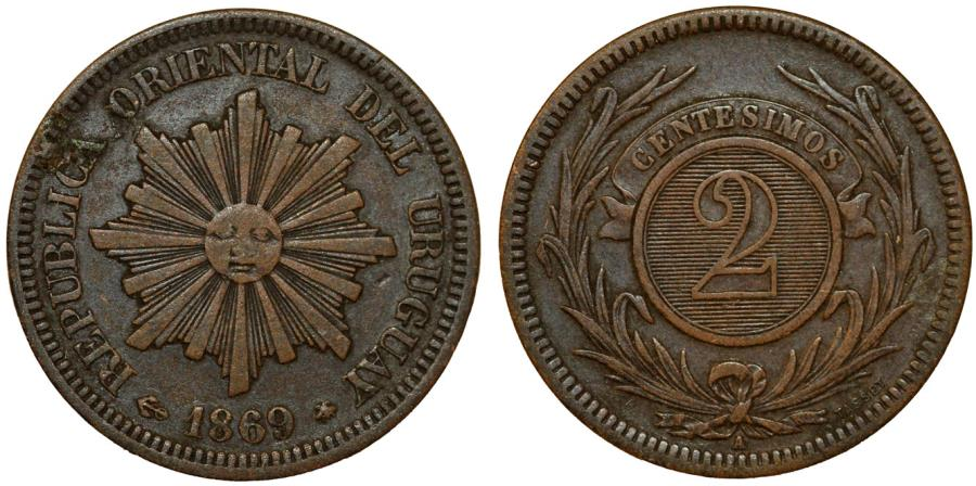 World Coins - Uruguay. Republic. AE 2 Centesimos 1869A. VF+