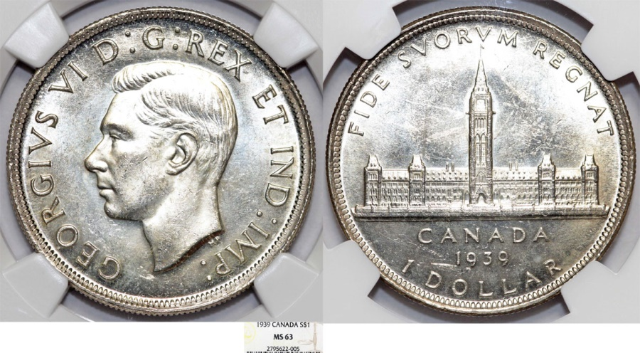World Coins - Canada. Commonwealth king George VI. Silver Dollar 1939 HP. NGC MS63