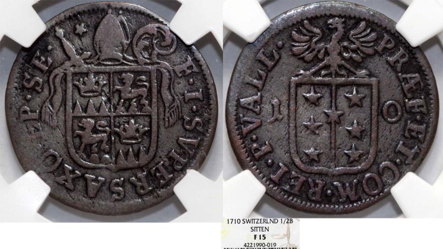 World Coins - Swiss Cantons. Sitten 1/2 Batzen 1710.  NGC F15, RARE