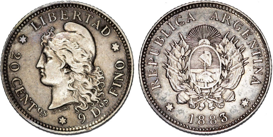 World Coins - Argentina. Republic. AR 20 Centavos 1883. Choice XF