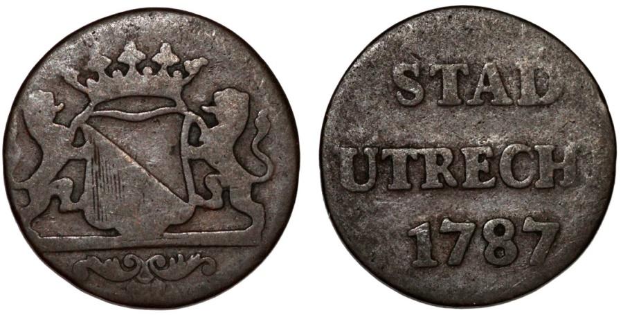 World Coins - Netherlands. Utrecht. Cu Duit 1787. Fine