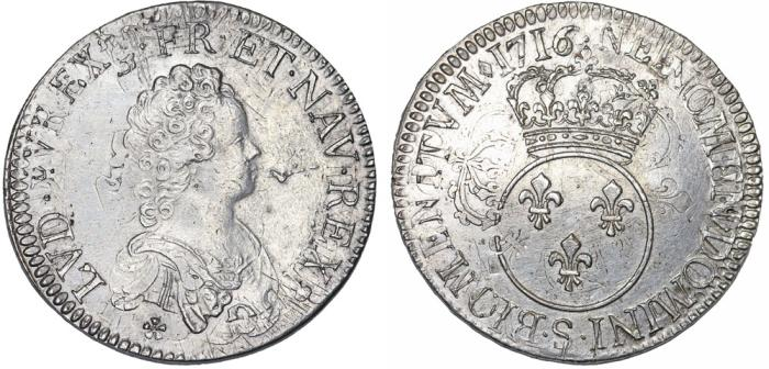"World Coins - France. Reims.  King Luis XV ""The Well-Beloved"". (1715–1774). AR Ecu 1716 . Mint error XF."